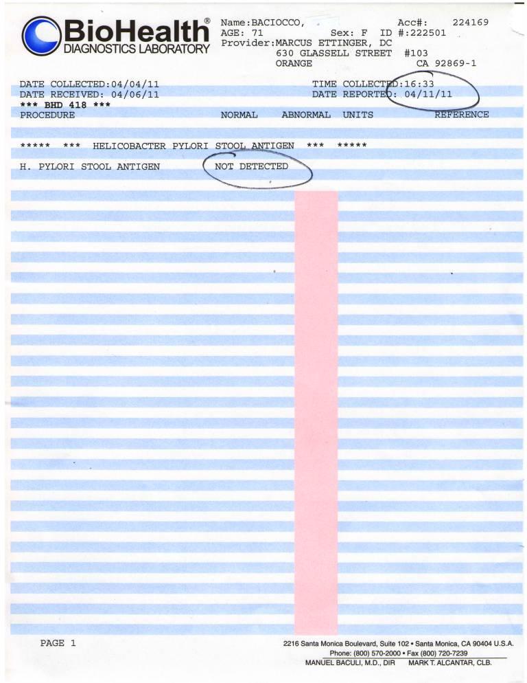 BioHealth Diagnostics Test #418 H. pylori antigen stool test