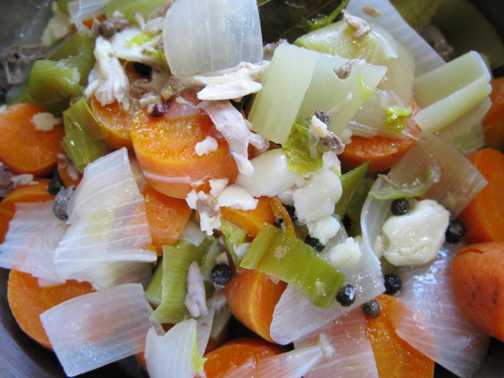 Cooked vegetables ready for the blender