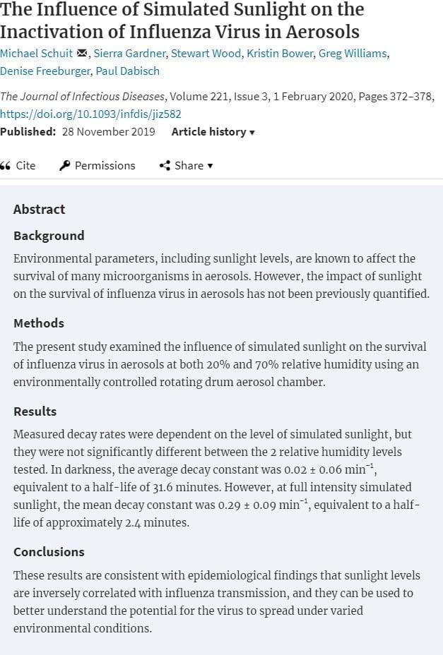 The Influence of Simulated Sunlight on the Inactivation of Influenza Virus in Aerosols_coronavirus_COVID19_update_3-29_2020