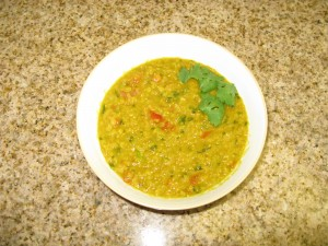 Masoor Dal (Red Lentils) with Tomatoes and Cilantro