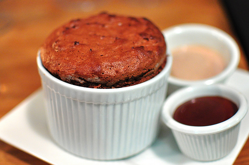 Dark chocolate souffle with black pepper milk chocolate ice cream and chocolate cream