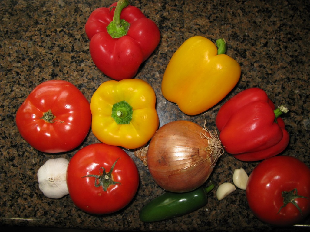 Raw ingredients for Dr. Ettinger's Roasted Tomato, Red and Yellow Bell Pepper Soup
