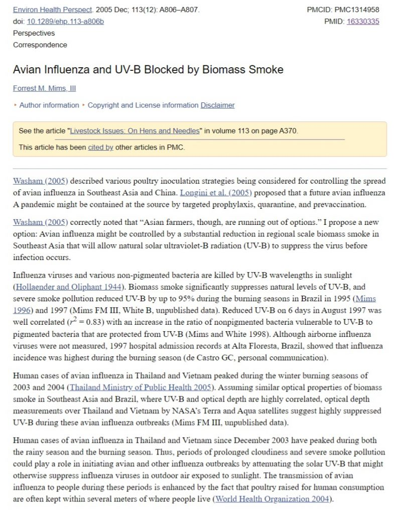 Avian Influenza and UV-B Blocked by Biomass Smoke_coronavirus_COVID19_update_3-29-2020