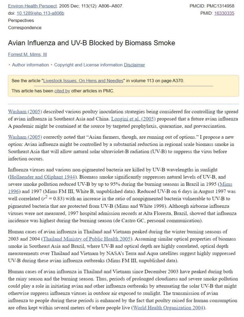 Avian Influenza and UV-B Blocked by Biomass Smoke_coronavirus_COVID19_update_3-29-2020