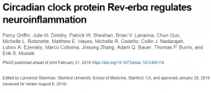 the circadian clock protein Rev-erbA regulates neuroinflammation in the central and peripheral nervous systems